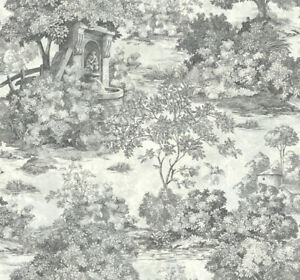 Wallpaper-Designer-Black-on-Taupe-Gray-Faux-Country-Scenic-Toile