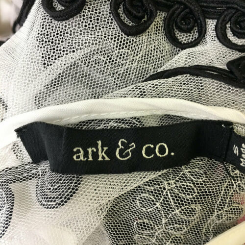 Ark /& Co White /& Black Embroidered Short Sleeve Dress Size Small