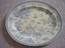 Antique England Hall and Read earthenware TOKIO oval dish,old Willow,9th Jan1883