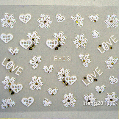 White 3D Nail Art Stickers Decals For Nail Tips Decoration Flower Bow Tie Design