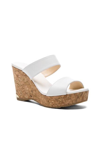 Jimmy Choo Parker Wedge Sandals White