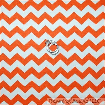BonEful FABRIC FQ Cotton Orange White CHEVRON Halloween Stripe Small Little Girl