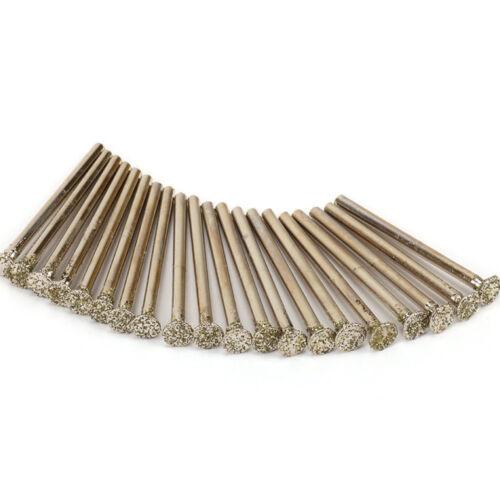 20Pcs Meulage Diamant Tête Rotatif broyage Tool for Metal pierre verre tige 3 mm