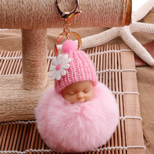 Sleep Baby Doll Key Chains Rabbit Fur Ball Car Keyring Bag Car Key Pendant USA