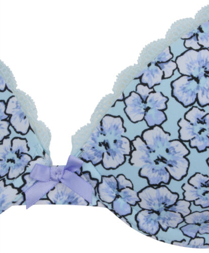 Ex Store Lightly Padded Floral Underwired Bra Blue