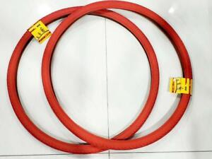 TWO HIGH QUALITY RED STREET TIRES AND  2 INNER TUBES 40-622 700X38 TIRE BICYCLE