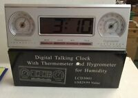 Talking Alarm Clock With Thermometer And Hygrometer Batteries Included