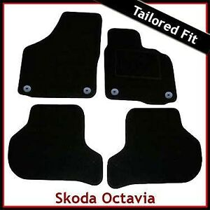 Skoda-Octavia-Mk2-2004-2013-Round-Eyelets-Tailored-Fitted-Carpet-Car-Mats-BLACK