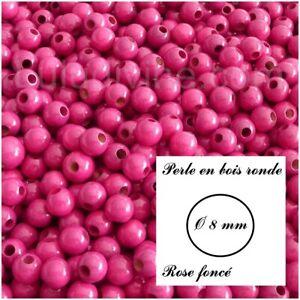 Rose foncé Perle en bois ronde Ø 8 mm lot de 50 perles