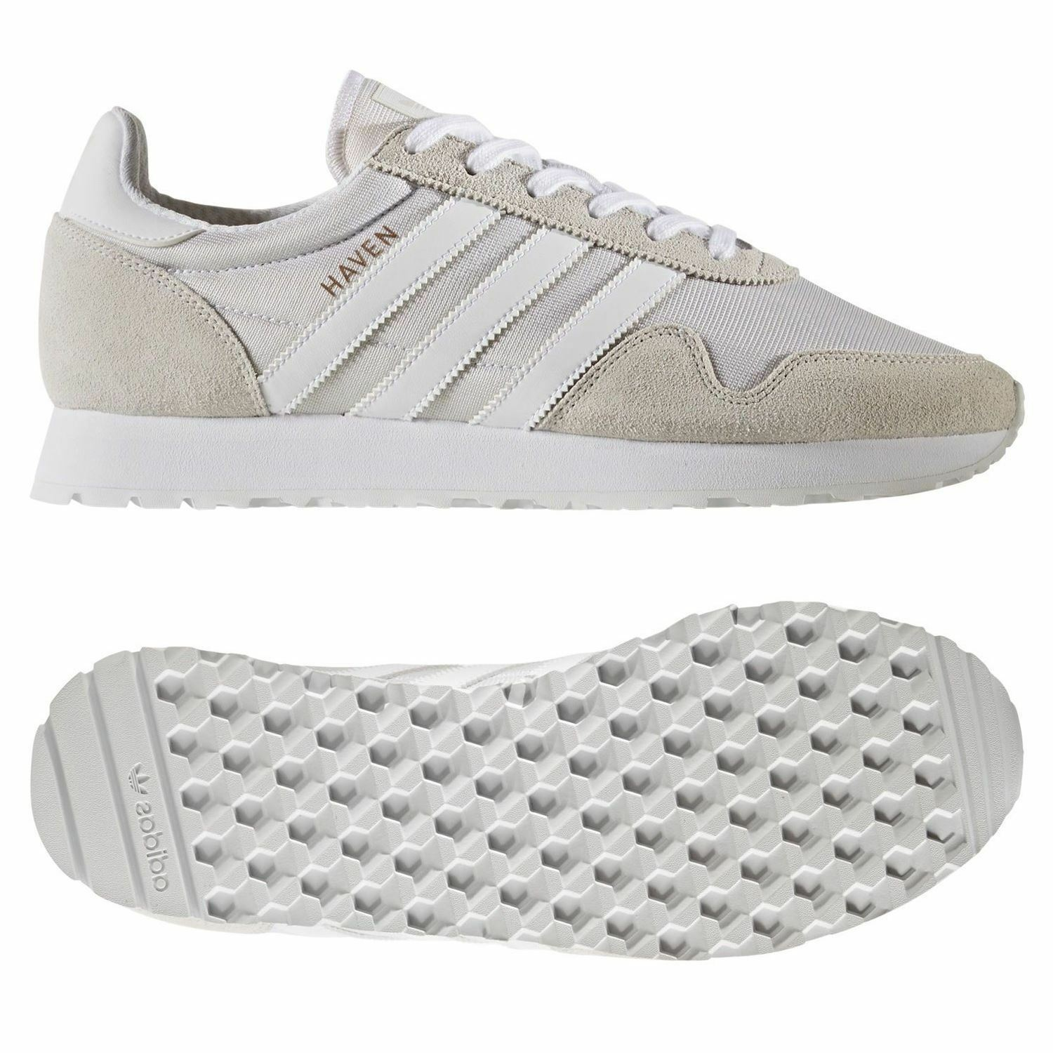 Adidas ORIGINALS MEN'S HAVEN TRAINERS WHITE SHOES SNEAKERS RETRO RUNNING NEW