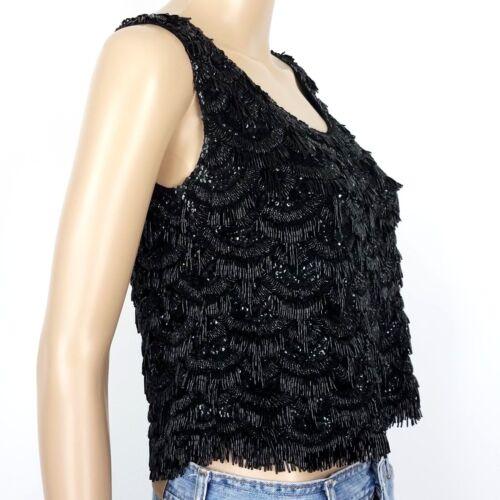 Wool Beads Balore Womens Mouwloze Pailletten Top Gogo Crop Med Black Evening 425 qnf18fEwSx