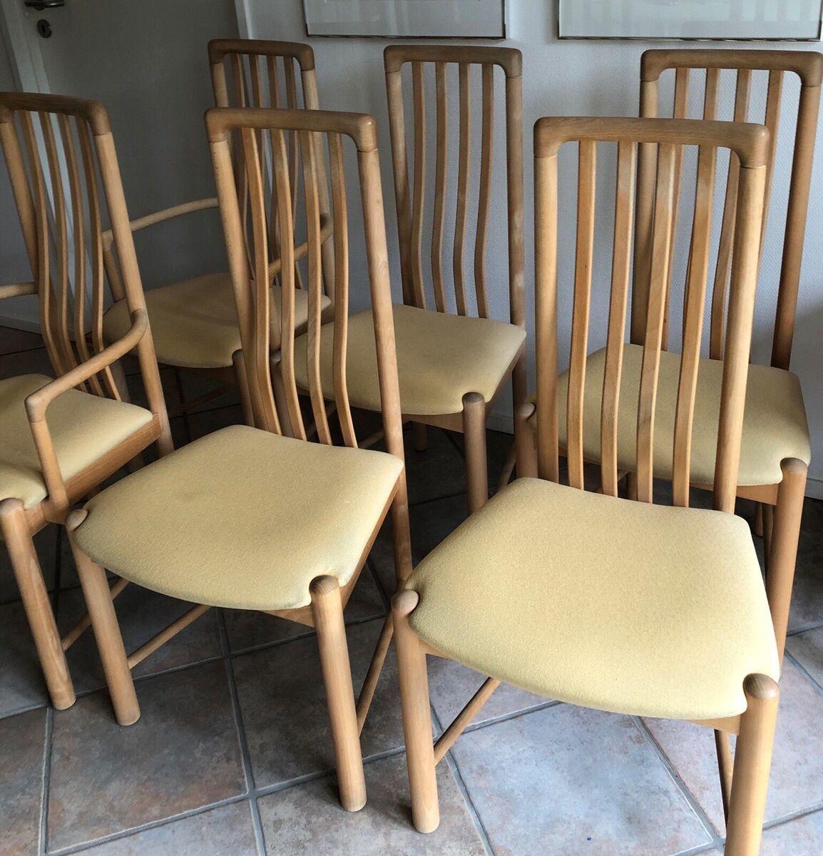 Haslev Møbelsnedkeri, stol, Haslev, 6 arkitekttegnede spi