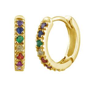 Yellow-Gold-Plated-Sterling-Silver-amp-Rainbow-Crystal-Huggie-Hoop-Earrings