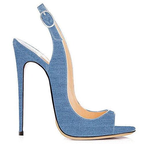 Para mujer Denim Zapato Taco Alto Peep Toe Zapatos Zapatos Zapatos Bombas Zapatos informales de Hebilla  el más barato