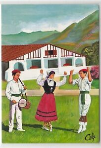 CP-BRODEE-EMBROIDERED-BORDADA-Danseurs-pays-basque