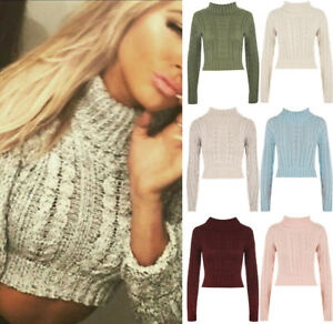 Details about New Ladies Womens Knitted Polo Neck Chunky Knit Cable Sweater Jumper Crop Top