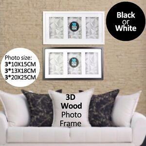 3 In 1 3d Wood Frame Black Or White Hang On Wall Black White 4x6 5