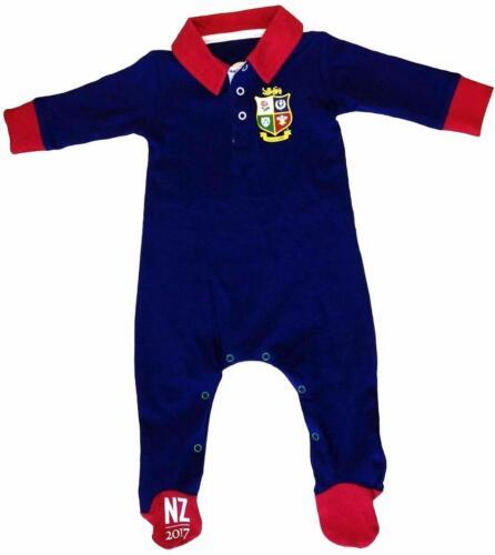 British /& Irish Lions nourrissons couleur bloqué Sleepsuit-bleu marine-Neuf