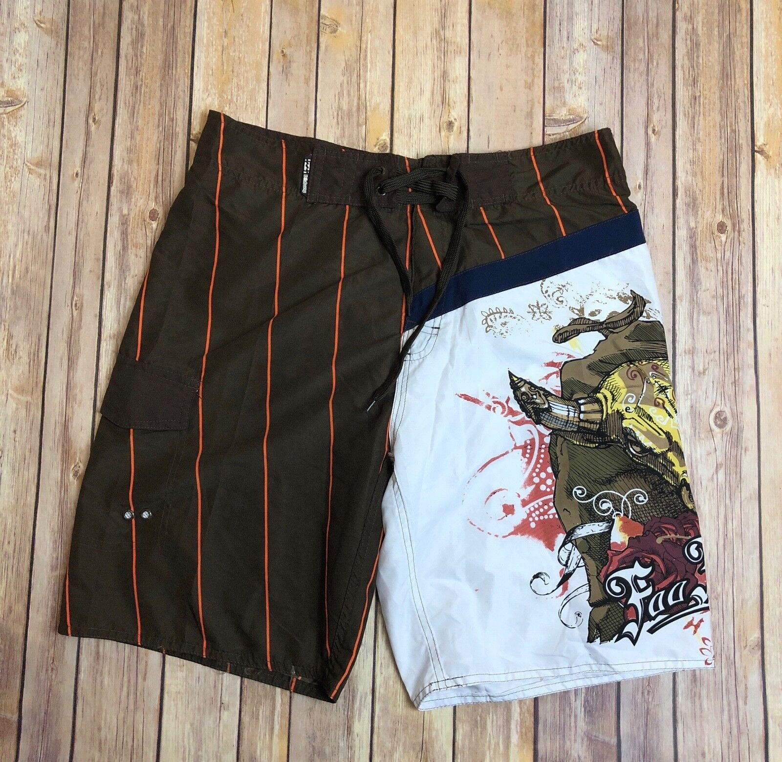 NWT Billabong Foo Fighters Brown & orange Lined Swim Trunks Board Shorts 30
