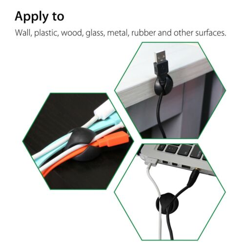5PCS Cable Clips Cord Organizer Wire Management Self Adhesive Desk Cable Holder