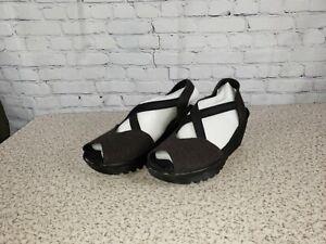Skechers-Peep-Toe-Sling-Back-Wedges-Parallel-Black-Size-9-M