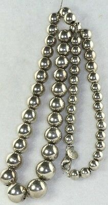 Vintage Tiffany Co Sterling Silver Graduated Beads 16 5 Inch Necklace Ebay