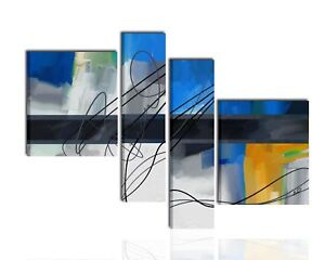Quadri dipinti a mano moderni astratti su tela blu grigio quadro
