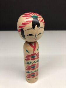 Vintage-Japanese-Wooden-Kokeshi-Doll-Merchant-Hand-Painted-Folk-Art-Good-Shape