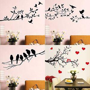 wandtattoo vogel blumen zweigen baum deko wandsticker aufkleber kinderzimmer ebay. Black Bedroom Furniture Sets. Home Design Ideas