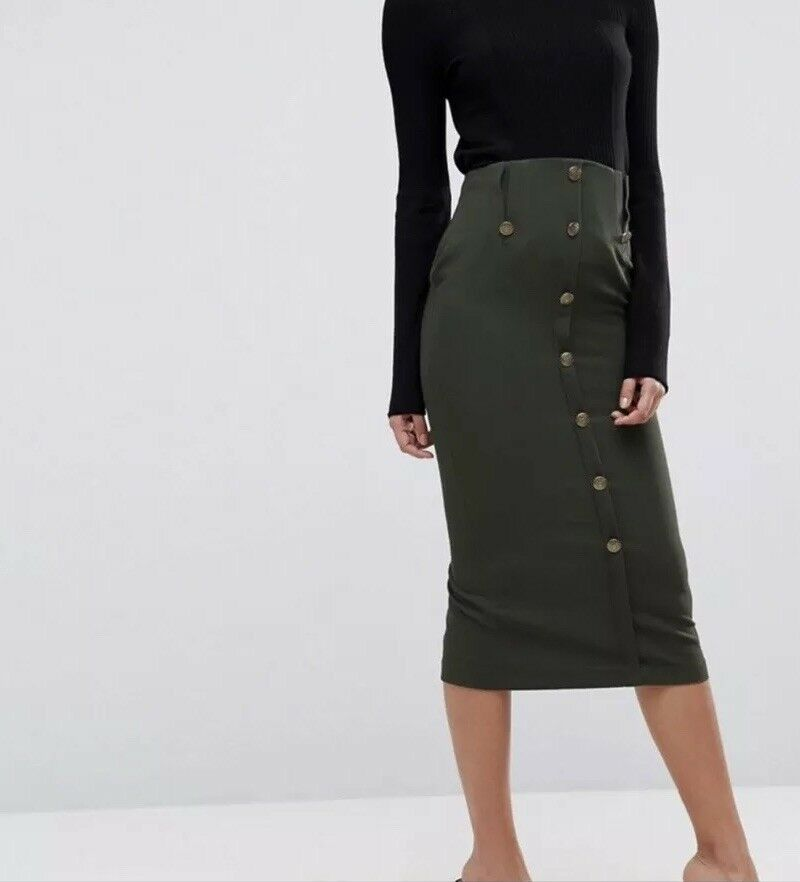 ASOS 0 Pencil Skirt Military Green Camo New NWT