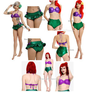 4d4a954fc0e Little Mermaid Ariel Cosplay Swim Suit Shell Top OR High Waist OR ...