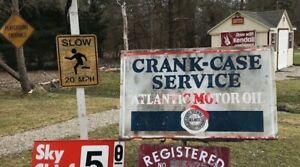 Vintage Original Advertising Atlantic Motor Oil Crank Case Service Metal Sign