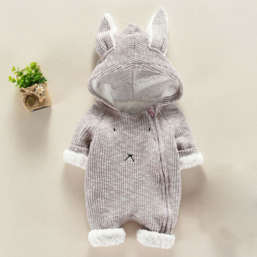 Newborn Infant Baby Boy Girl Romper Hooded Jumpsuit Bodysuit Toddler Outfits VT