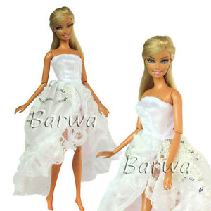 White-Princess-Evening-Wedding-Party-Mini-Dress-Clothes-Outfit-For-Barbie-Doll