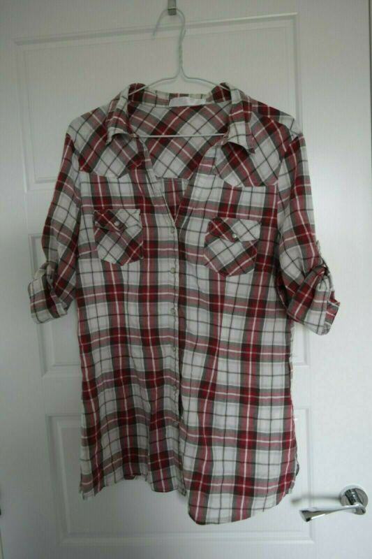 Creative Red And Beige Checkered Button Up Shirt. Poppers Not Buttons. Size 16