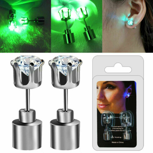 One Pair LIGHT UP LED EARRINGS STUDS Blinking Flashing 2PCS for Party Xmas Gift