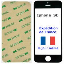 VITRE Avant écran Apple IPHONE SE NOIR + Adhésif 3M - remplacement sur Tactile