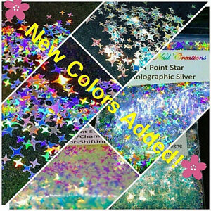 4-POINT-STAR-Shape-Glitter-You-Choose-Nail-Art-Face-Festival-USA