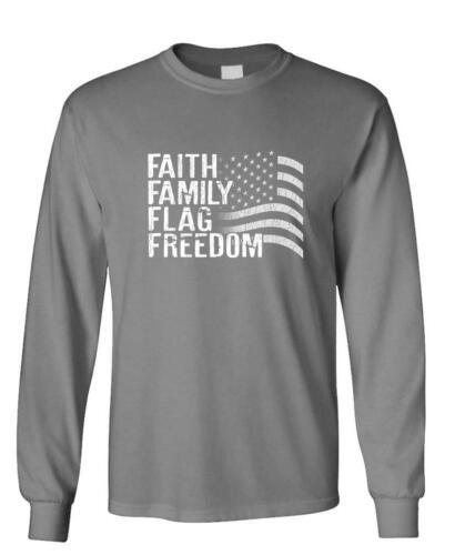 Faith Family Flag Freedom-America USA Pride Long Sleeved T-Shirt Tee Shirt