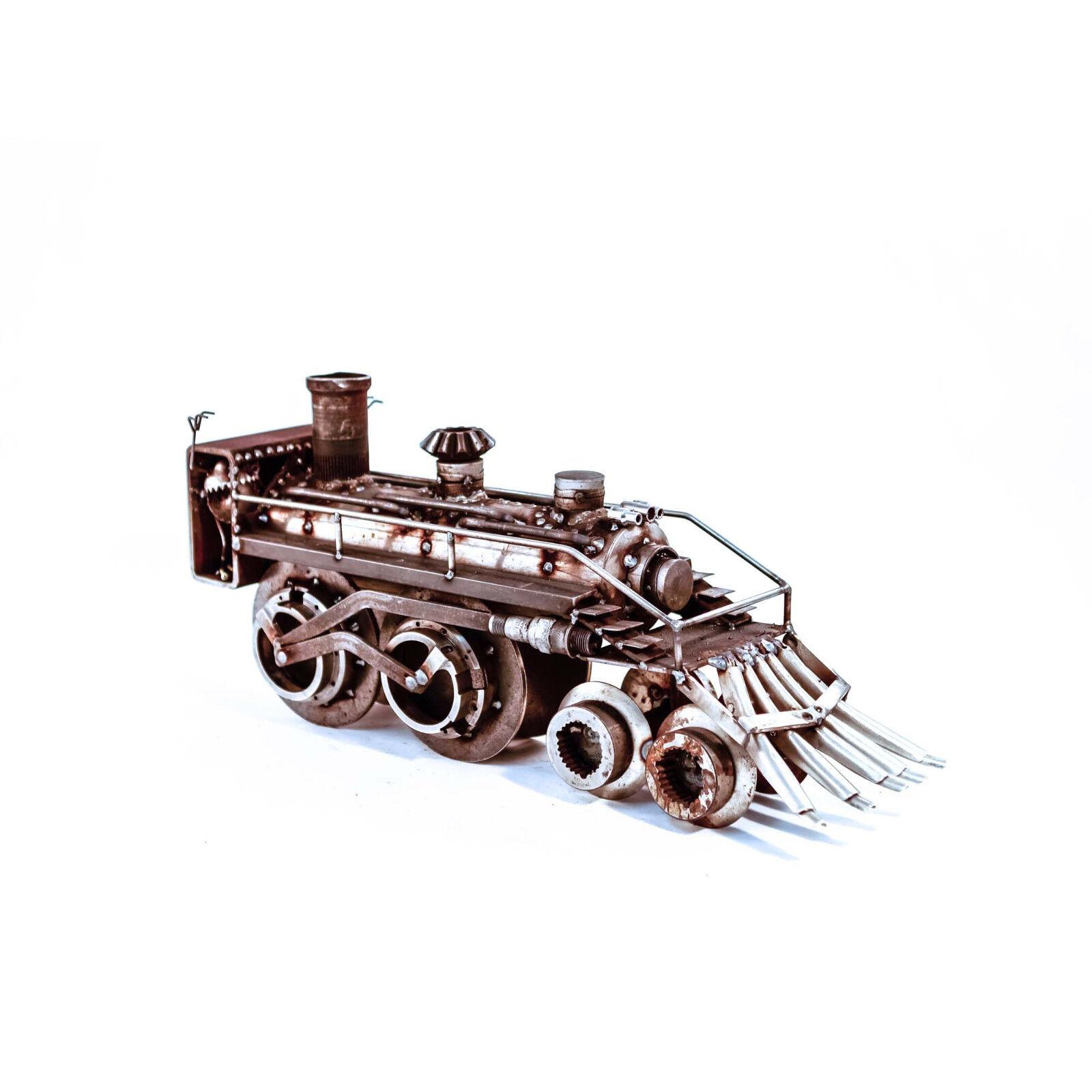 Sugarpost Scrap Metal Art Gnome Be Gone Crazy Train Metal Sculpture Item  1090