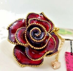 Betsey-Johnson-Necklace-ROSE-Red-Burgundy-GOLD-BEADING-Crystals-Classy-GIFT-BOX