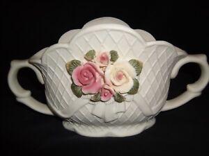 Vintage-White-Jasperware-Bowl-Vase-Center-Piece-with-Applied-Pastel-Flowers-5-034-H