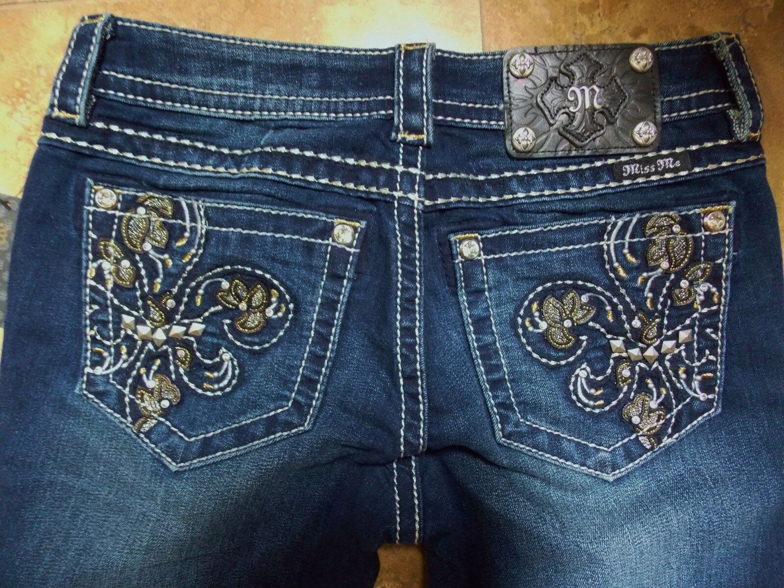 Miss Me JP5576S2 Fluer De Lis Gld Blk Dark bluee Skinny Jeans 24,26,27 SALE