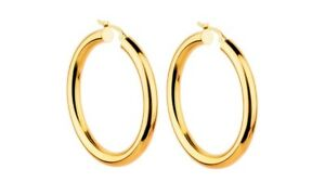 14K-Yellow-Gold-34mm-Thickness-High-Polished-Classic-Hinged-Hoop-Earrings-Silver
