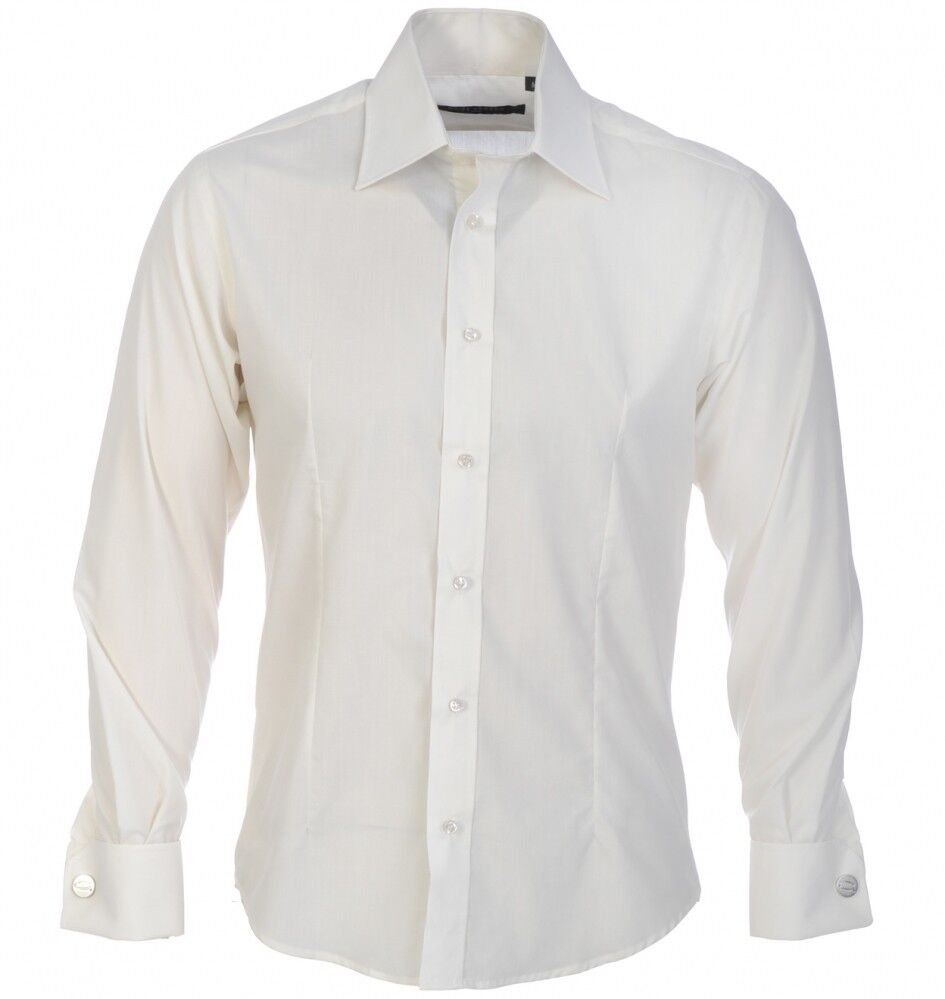 GUIDE LONDON Shirt Mens Long Sleeve Plain Double Cuff Fitted White Size  XXXL