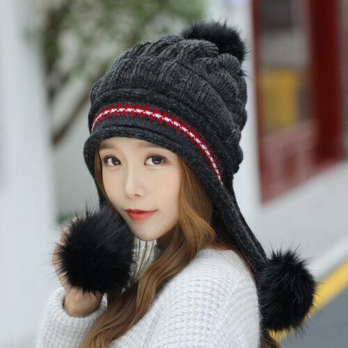 Beanie Hat Fingerless Glove Fluffy Stretch Cotton Winter Warmer Ear Muffs Women