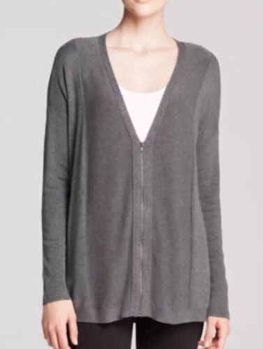 L $298 NEW EILEEN FISHER ASH LIGHTWEIGHT COZY VISCOSE STRETCH KNIT ZIP CARDIGAN