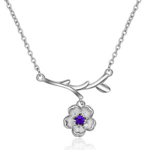 Elegant-925-Sterling-Silver-CZ-Cubic-Zirconia-Cherry-Blossoms-Pendant-Necklace