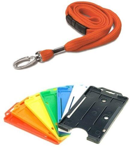 Orange Tubular Fabric Safety Breakaway Neck Lanyard with ID Card Badge Holder