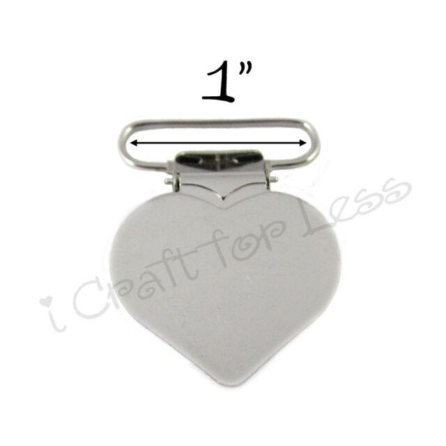 10 Heart Suspender Paci Pacifier Holder Mitten Clips - 1 Inch w/ Inserts